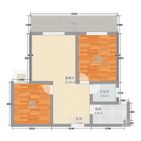 瑞祥花园2室1厅1卫1厨90.00㎡户型图