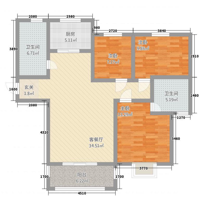 龙云・城中央128.54㎡A户型3室2厅2卫1厨