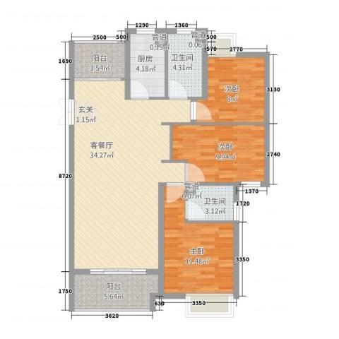 角美万达广场3室1厅2卫1厨84.77㎡户型图