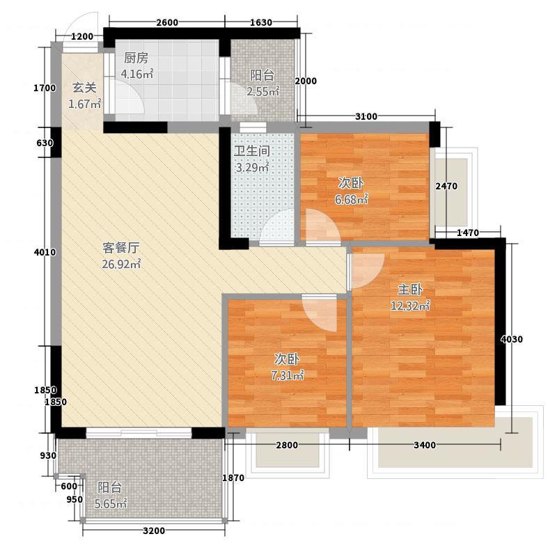 中澳丽珠花园8.38㎡14栋02户型3室2厅1卫1厨