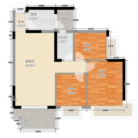 中澳丽珠花园3室1厅1卫1厨68.87㎡户型图