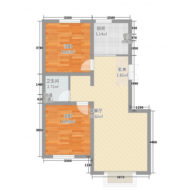 金隆・幸福花园7.47㎡C4户型2室2厅1卫