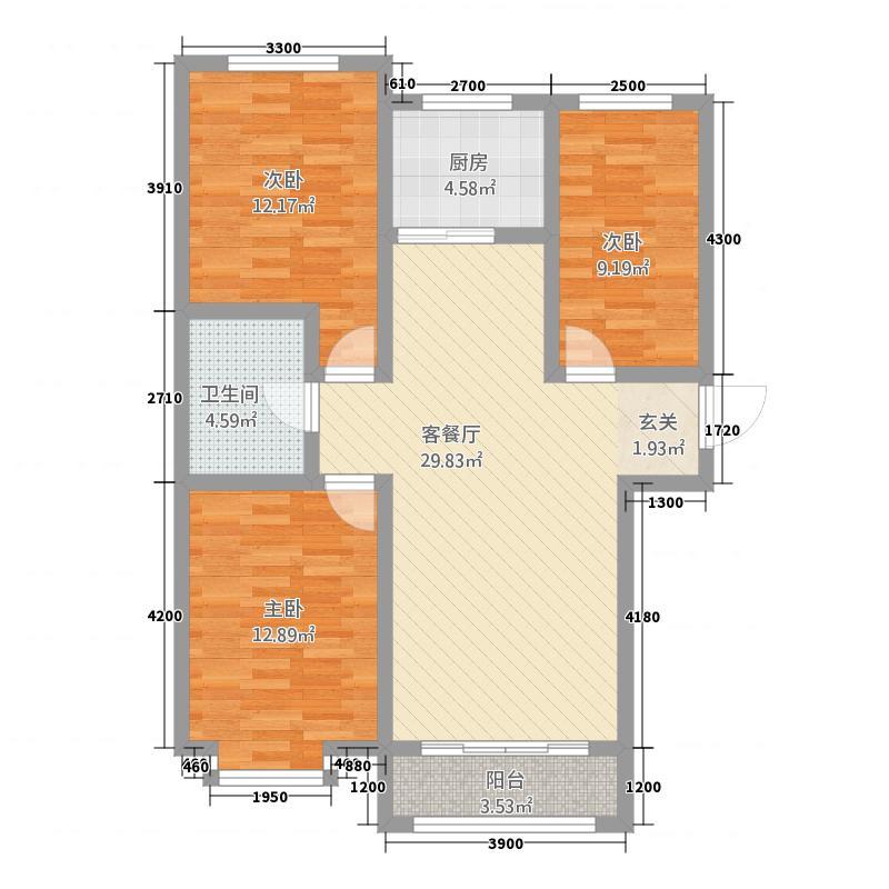 鑫家园17.25㎡C-6户型3室2厅1卫1厨