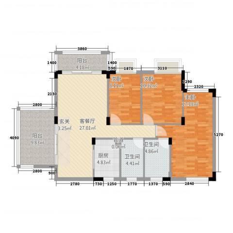 东城花园3室1厅2卫1厨128.00㎡户型图