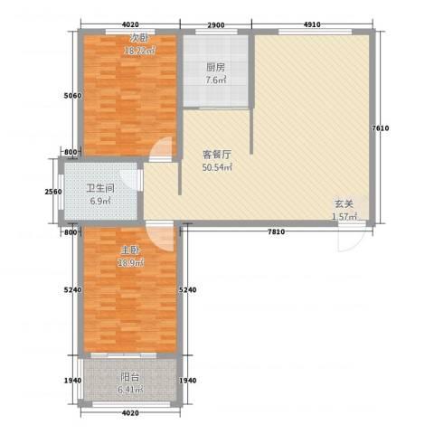 万豪华庭公馆2室1厅1卫1厨151.00㎡户型图