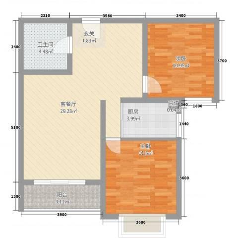 水云间2室1厅1卫1厨64.36㎡户型图