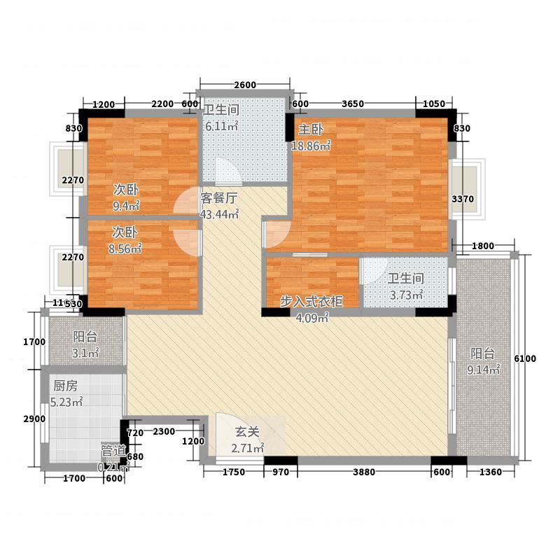 名苑山庄名苑3户型3室2厅2卫1厨