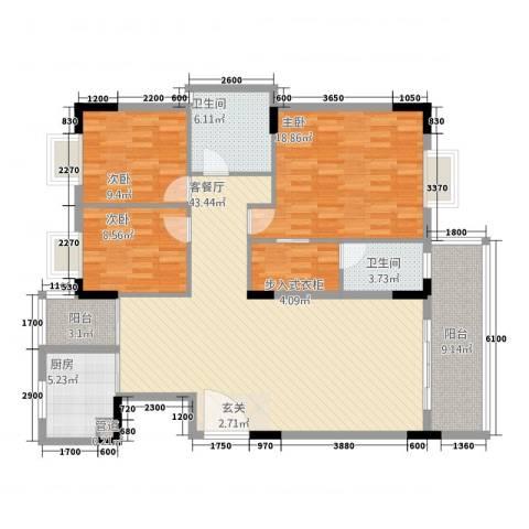 名苑山庄3室1厅2卫1厨157.00㎡户型图