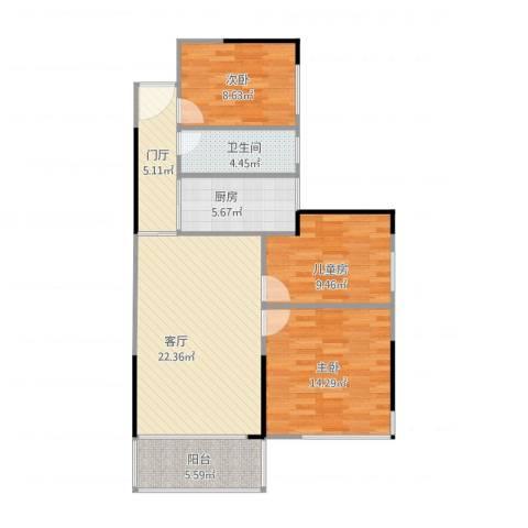 凯旋美域3室1厅1卫1厨96.00㎡户型图