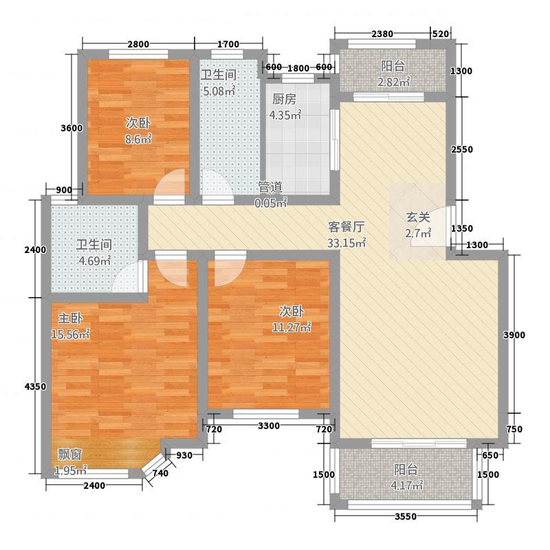 安和家园111.60㎡一期小高层B3F户型3室2厅2卫
