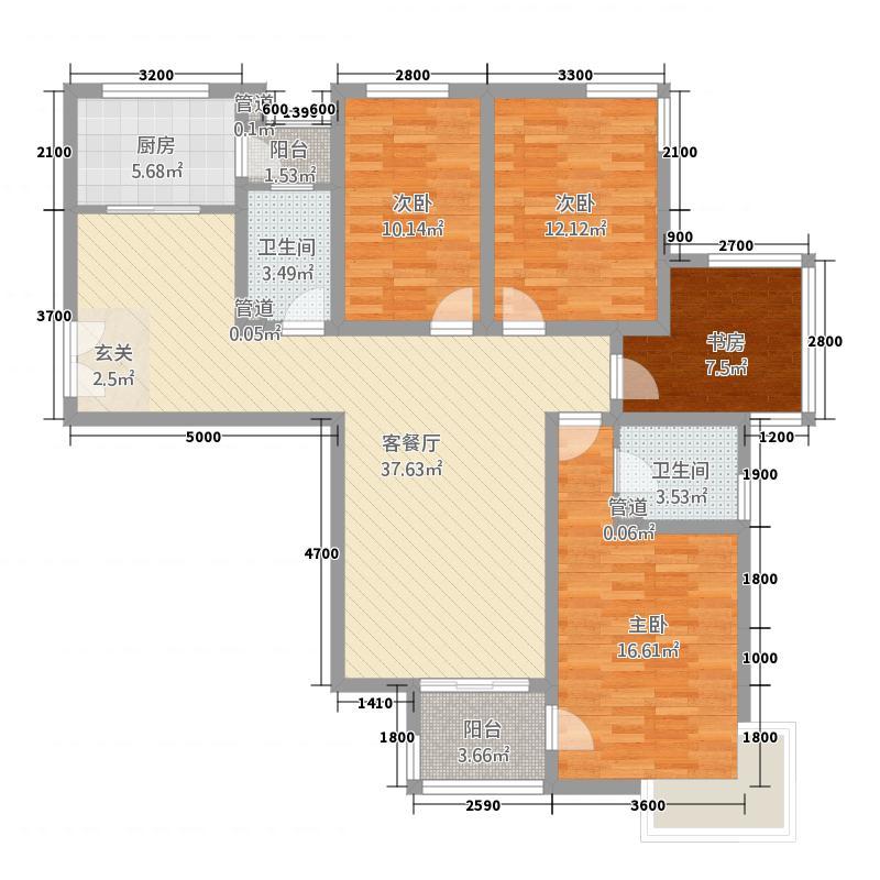东湖半岛14.21㎡1#楼F户型3室2厅2卫1厨