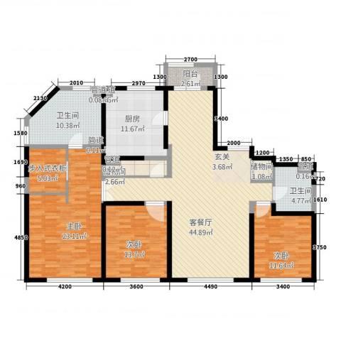 中粮大道3室1厅2卫1厨213.00㎡户型图
