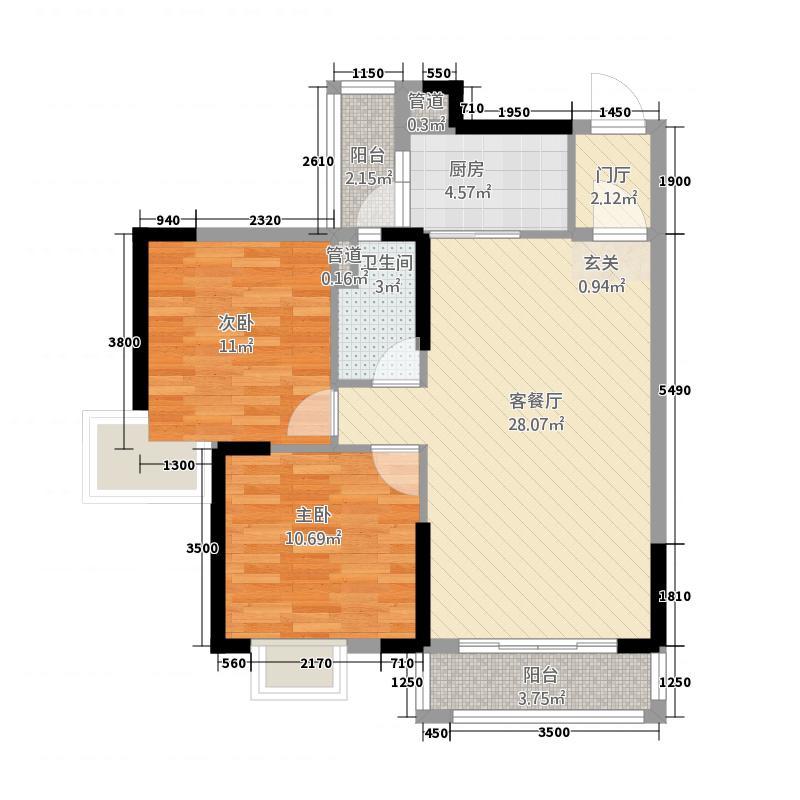 沃华・时代广场1.22㎡17幢06户型2室2厅1卫1厨