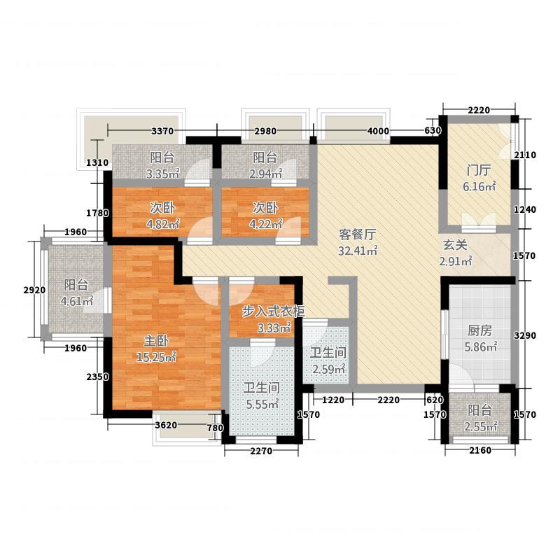 桐梓林壹号141.00㎡2期1栋2栋标准层E1户型3室2厅2卫1厨