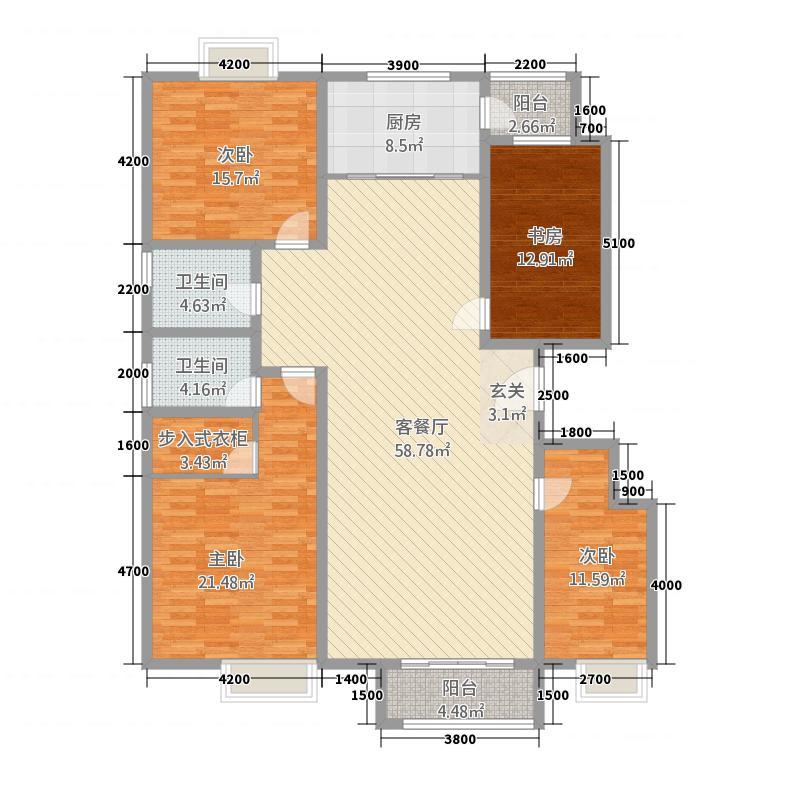 东方・亚特兰22.00㎡户型4室2厅2卫1厨