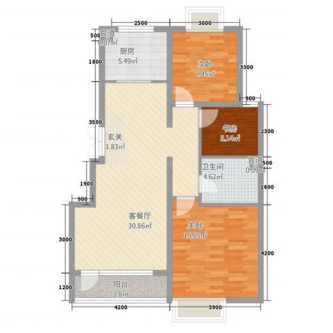 格林公寓3室1厅1卫1厨105.00㎡户型图