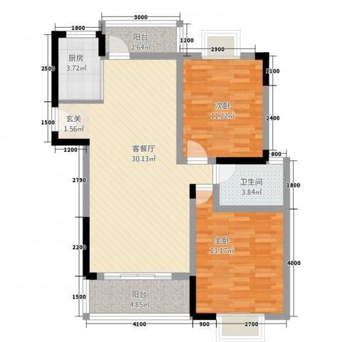 巨龙.国际2室1厅1卫1厨101.00㎡户型图
