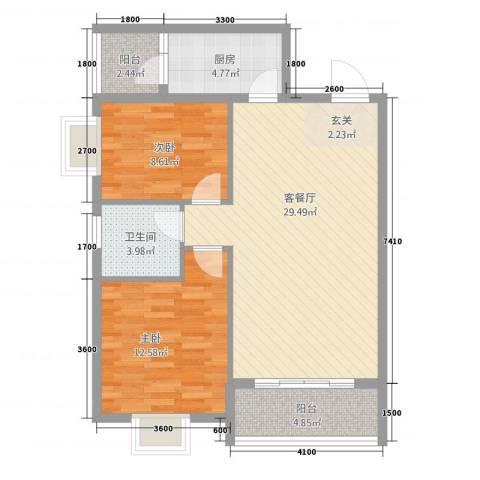 巨龙.国际2室1厅1卫1厨94.00㎡户型图