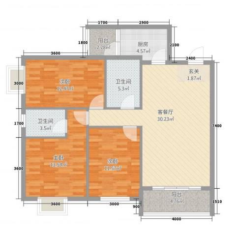 巨龙.国际3室1厅2卫1厨124.00㎡户型图
