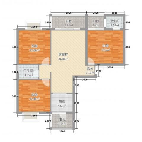 巨龙.国际3室1厅2卫1厨126.00㎡户型图