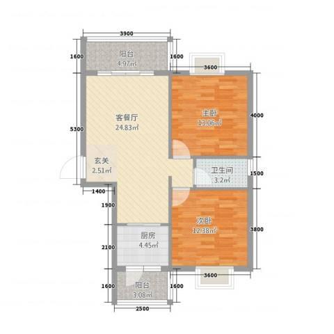 巨龙.国际2室1厅1卫1厨93.00㎡户型图