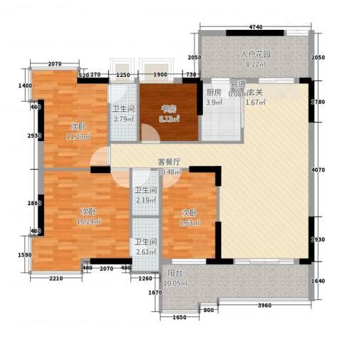 大唐盛世三期4室1厅3卫1厨143.00㎡户型图