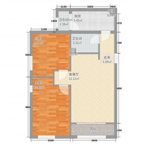 碧海花园2室1厅2卫1厨86.00㎡户型图