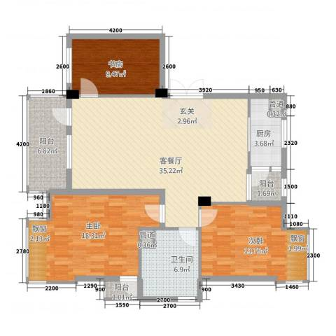 瑞景居3室1厅1卫1厨157.00㎡户型图