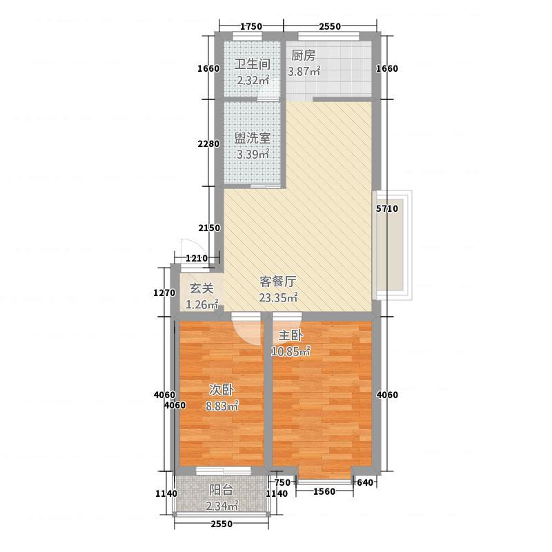 古城花苑73.00㎡户型2室2厅1卫1厨