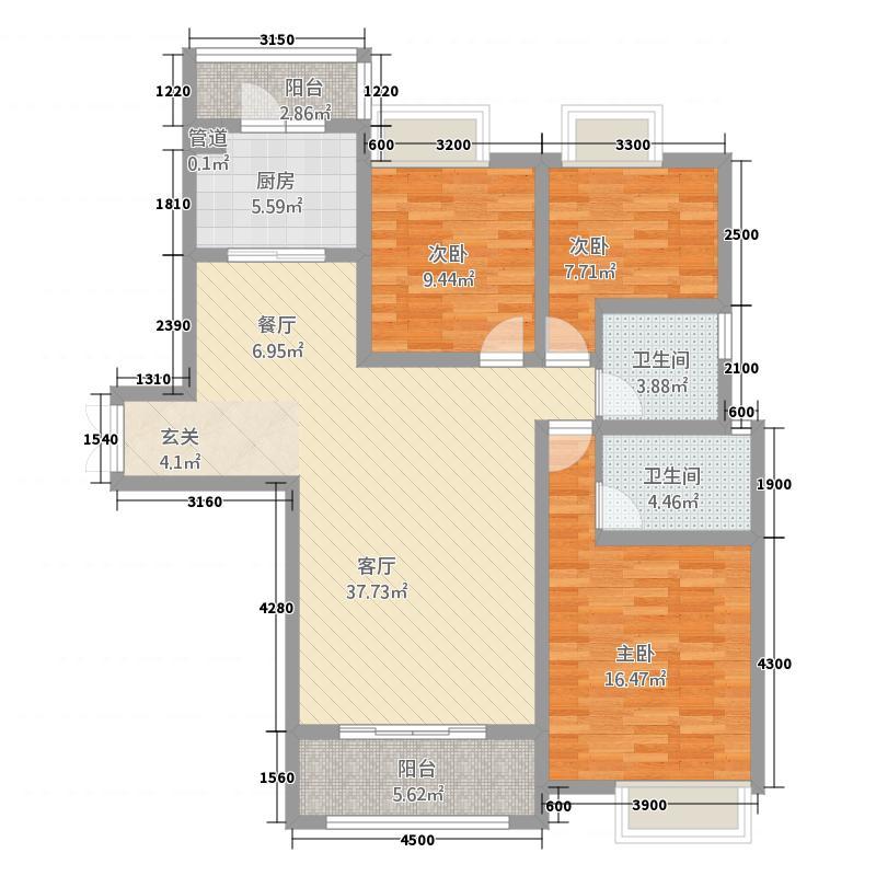 千林世纪城132.00㎡B3户型3室2厅2卫1厨