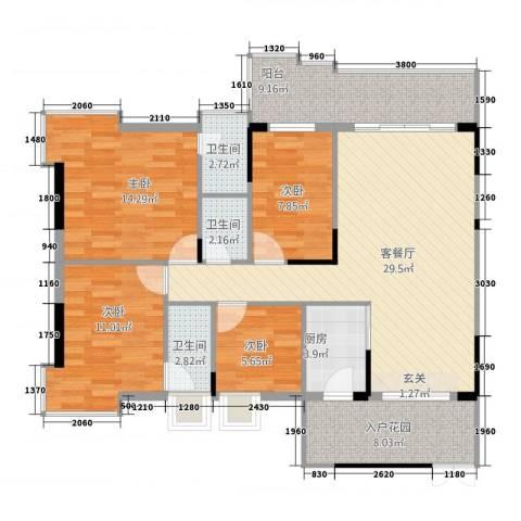 大唐盛世三期4室1厅3卫1厨135.00㎡户型图