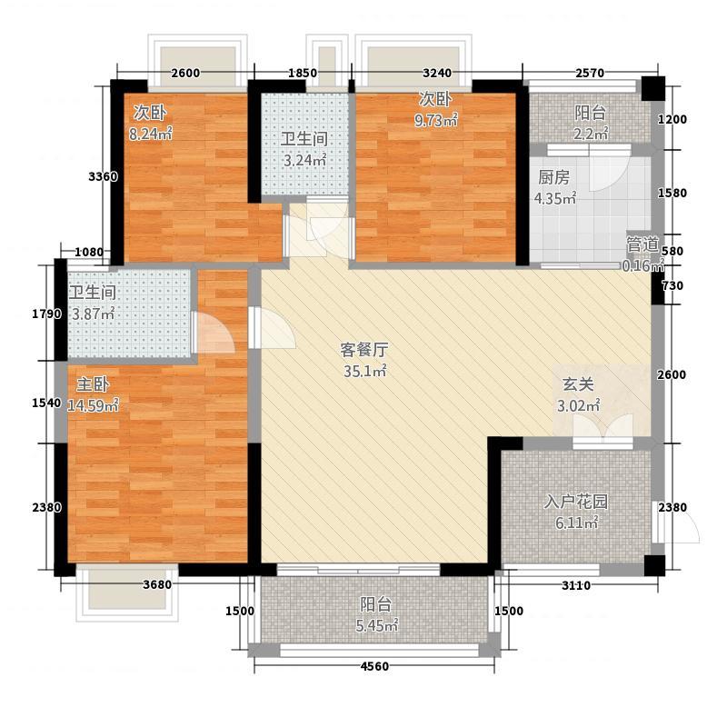 卓越东部蔚蓝海岸113.50㎡二期D户型3室2厅2卫1厨