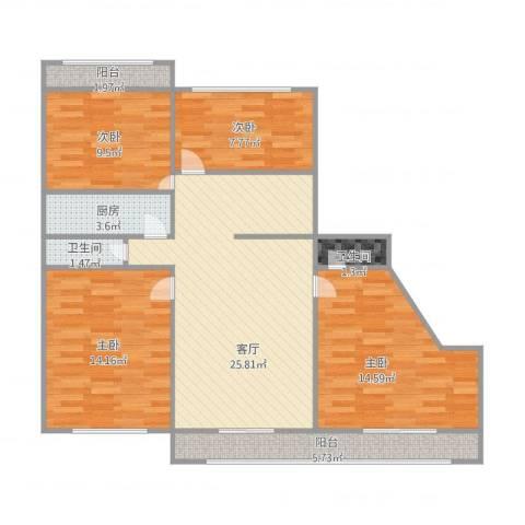 双新南区4室1厅2卫1厨150.00㎡户型图