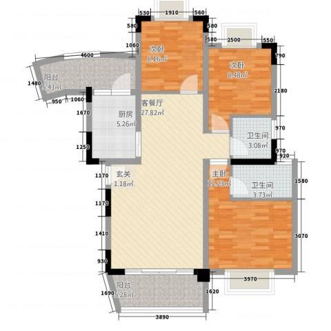半山翠苑3室1厅2卫1厨115.00㎡户型图