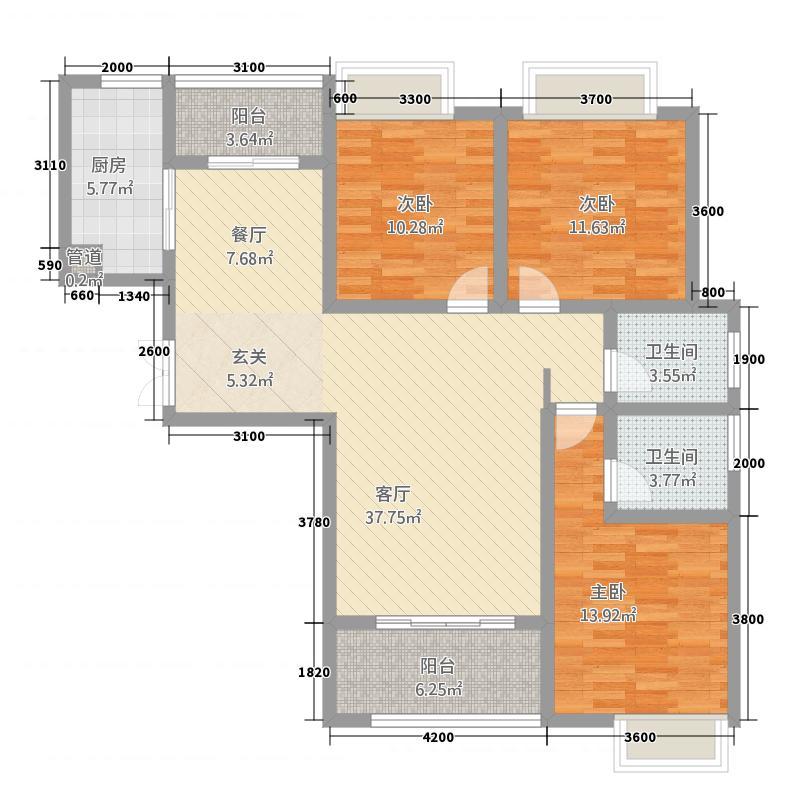 千林世纪城127.10㎡C1户型3室2厅2卫1厨