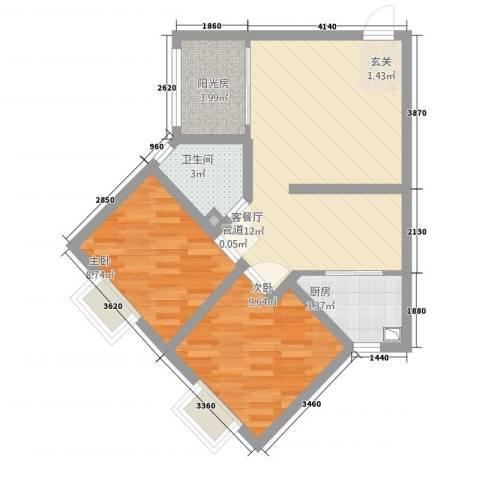 摩登3米阳光2室1厅1卫1厨76.00㎡户型图