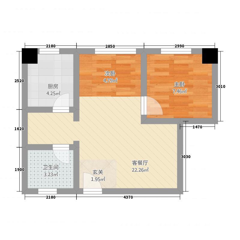 锦都园55.24㎡户型2室1厅1卫1厨