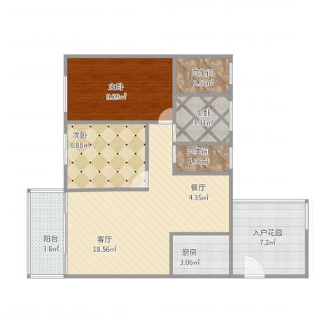 园林熙郡45-2023室1厅2卫1厨78.00㎡户型图