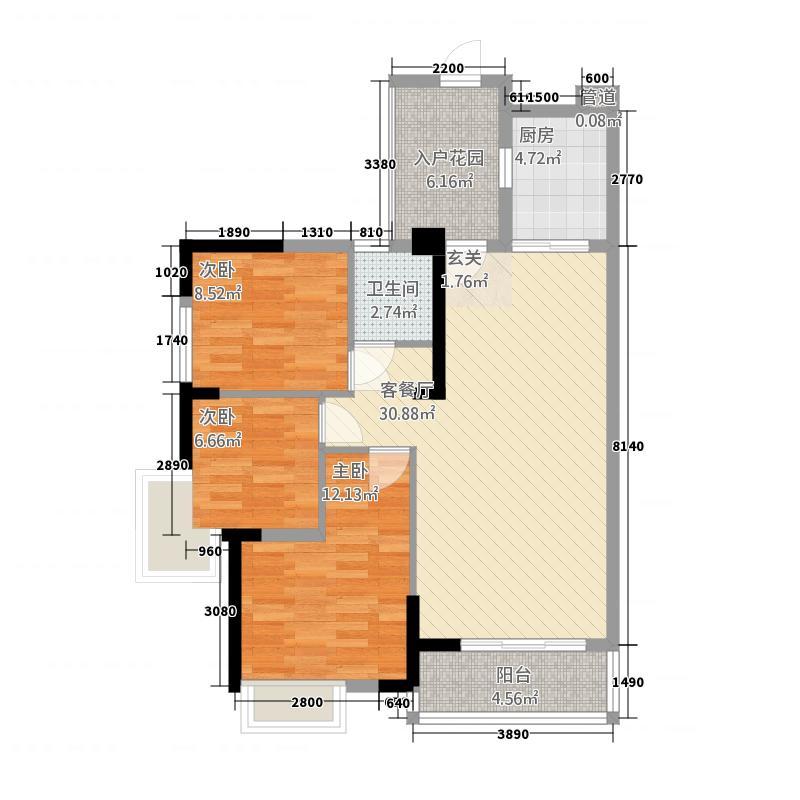 卓越东部蔚蓝海岸1.31㎡二期F户型3室2厅1卫1厨