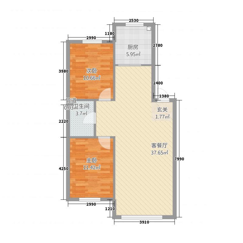 翠岭明珠83.00㎡户型2室2厅1卫1厨