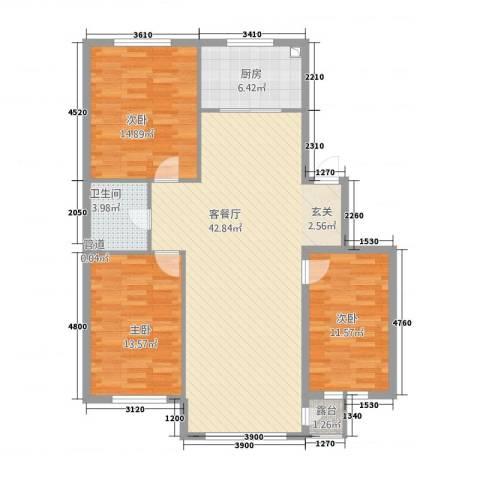 翠岭明珠3室1厅1卫1厨122.00㎡户型图