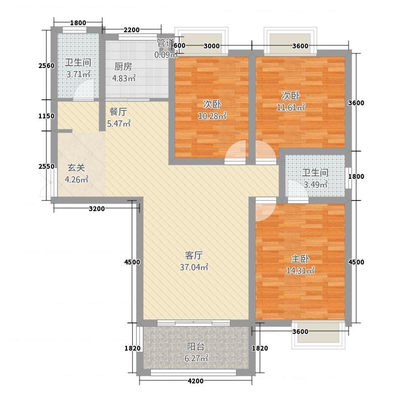 千林世纪城117.10㎡A9户型3室2厅2卫1厨