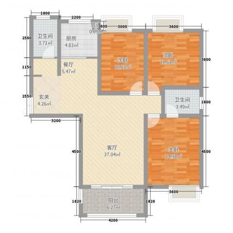 千林世纪城3室1厅2卫1厨117.00㎡户型图