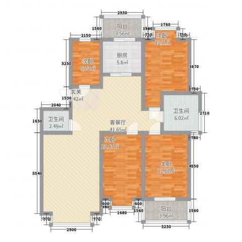 裕丰家园4室1厅2卫1厨176.00㎡户型图