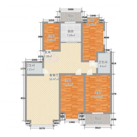 裕丰家园4室1厅2卫1厨168.00㎡户型图