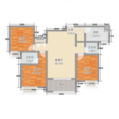 千林世纪城3室1厅2卫1厨80.60㎡户型图