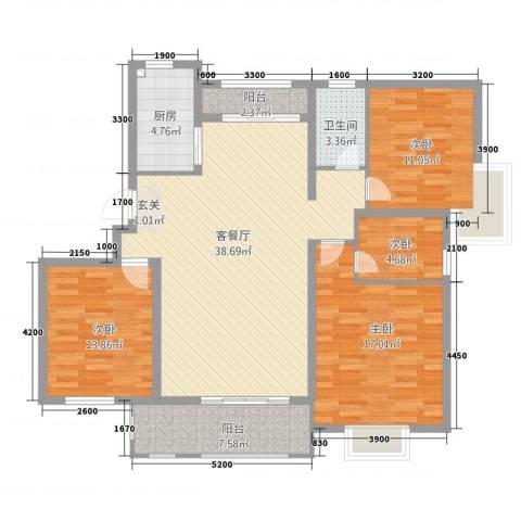 桑达园五期4室1厅1卫1厨123.00㎡户型图