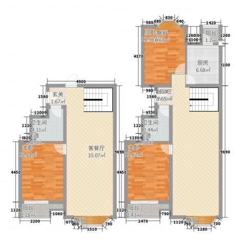 万汇广场3室2厅2卫1厨182.00㎡户型图