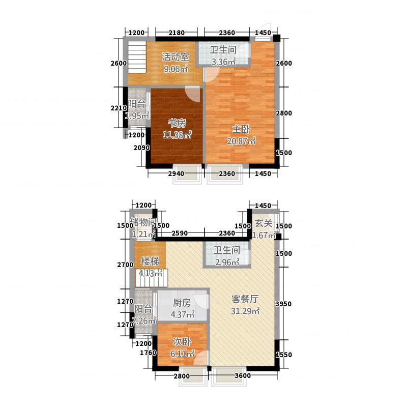 艺墅南岸二期香槟公寓123.32㎡F3a户型3室2厅2卫1厨