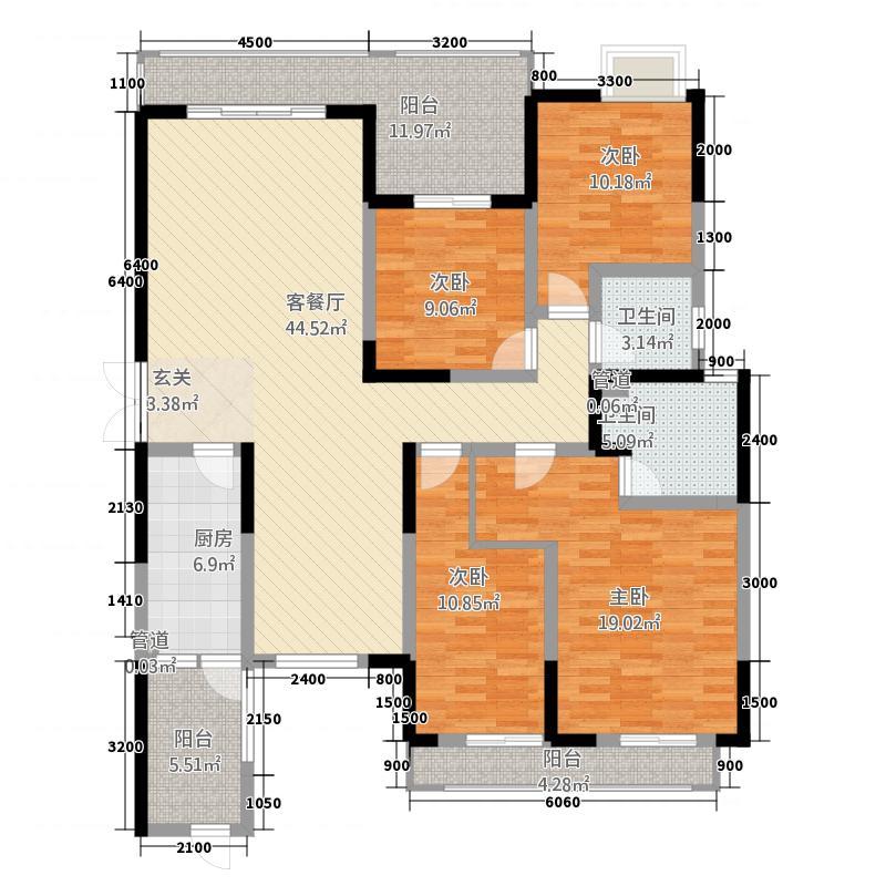 天韵金沙143.00㎡户型3室2厅2卫1厨